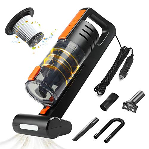 AUTOWOEL Portable Car Vacuum Cleaner Handheld Portable Vacuum Cleaner for Car 7500PA High Power Handheld Vacuum Cleaner Double Motor Cyclone Suction Vacuum with Wet or Dry 164 Ft Corded