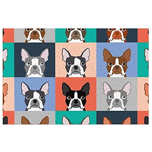 FFLSDR Felpudo Boston Terriers Azulejo Bulldog Juego de Perros Patrón Alfombras de Piso Entrada Alfombra de PVC Alfombra Lavable Área Alfombra Alfombra de Bienvenida 40X60CM