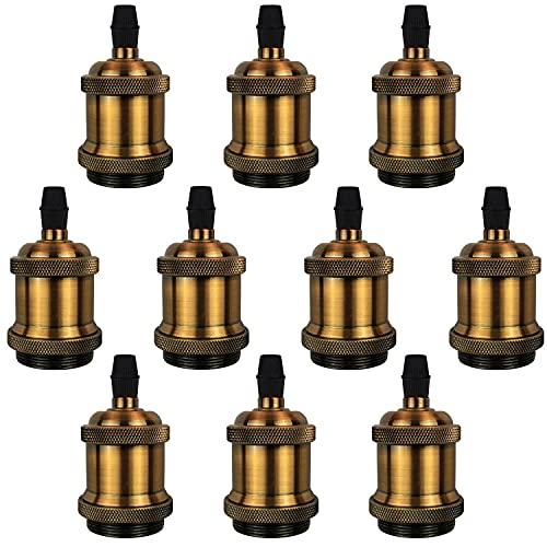DiCUNO E27 Vintage Solid Lampenfassung Keramik Lampe Halter Edison Schraube Glühbirne Buchse Adapter, 10 Pack