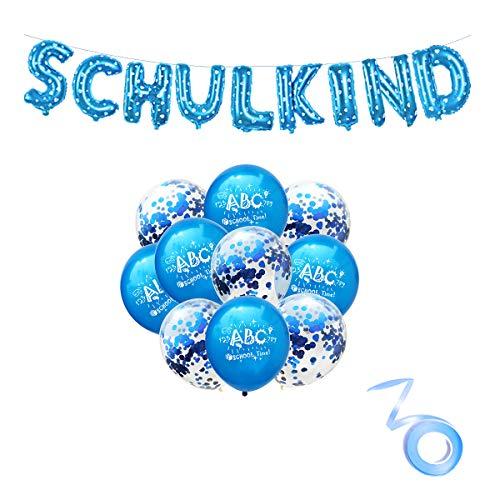 Schulkind Girlande Junge Schulkind Banner Junge Blau Luftballon Set Schulanfang Deko Banner Schule Junge Junge für Schulanfang Schuleinführung Einschulung Deko Luftballons mit ABC Motiv (blau)