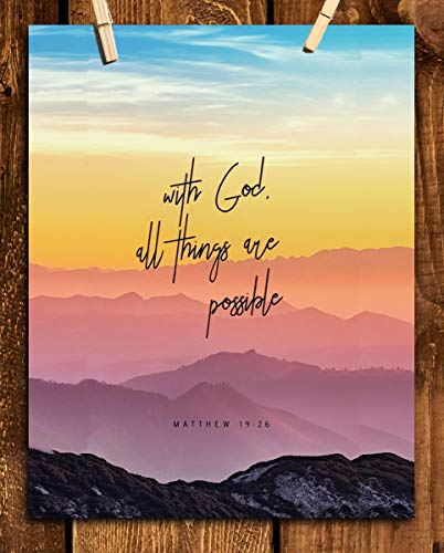 """""""With God, All Things Are Possible""""- Matthew 19:26. Bible Verse Wall Art- 8x10"""" Colorful Mountain Range Image-Ready to Frame. Scripture Wall Decor for Home-Office. Great Gift-Inspirational Art Verse."""
