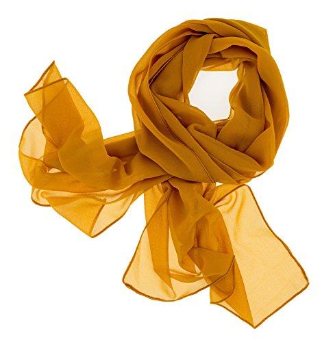 Dolce Abbraccio Damen Schal Stola Halstuch Tuch aus Chiffon für Frühling Sommer Ganzjährig Ocker Gelb