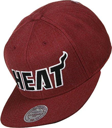 Mitchell & Ness Heather Snapback Cap Miami Heat Rot, Size:ONE Size