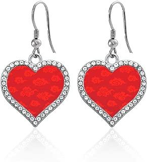 Silver Open Heart Charm French Hook Drop Earrings with Cubic Zirconia Jewelry