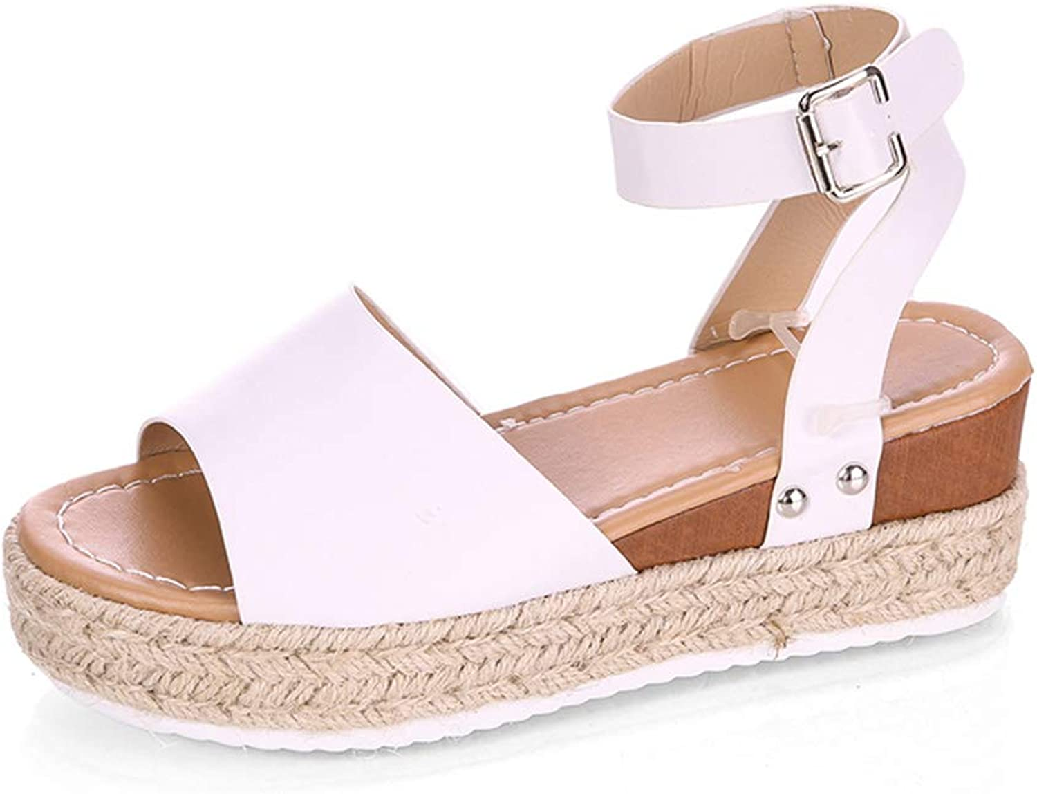 Jessie Womens Casual Espadrilles Flatform Studded Wedge Buckle Ankle Strap Open Toe Sandals