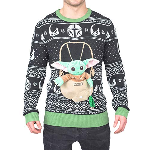 Star Wars Baby Yoda The Child Forces Trees Ugly Christmas Sweater (Small) Black