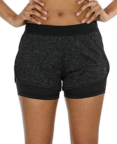 icyzone Damen Laufshorts 2 in 1 Kurze Sporthose Jogginghose Atmungsaktiv Sport Shorts für Gym Training (L, Black Heather)