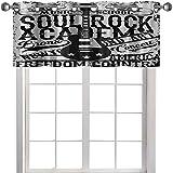 Visillo para ventana, diseño de Soul Rock Academy, de música y guitarra eléctrica, póster como imagen de 106,7 x 45,7 cm, color beige y negro