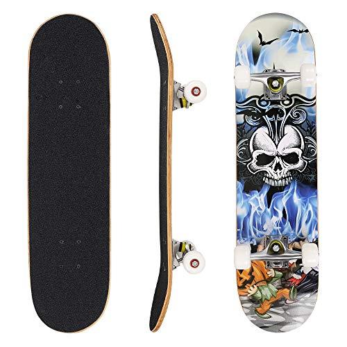 Hikole Skateboard Complet Planche à roulettes en Bois 79x20cm en érable Canadien de 31 Pouces,Roues 89A pour débutants Enfants et Adultes