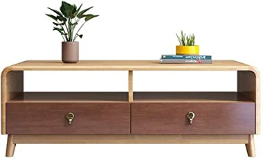 Corner Long Desk Top Coffee Table Two Drawer TV Set Table Large Capacity Tea Table, for All Notebook/Tablet, Helps with Healt