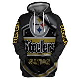 Kangtians Men 3D Pullover Hoodies AFC Football Team Sports Hooded Sweatshirt, Pittsburgh Steelers-1, X-Large
