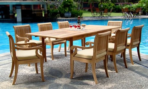 """Hot Sale New 9 Pc Luxurious Grade-A Teak Dining Set - 117"""" Double Extension Rectangle Table 8 Giva Arm / Captain Chairs"""