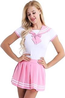 Aislor Déguisement Femme Japonais Uniforme Marin Sailor Cosplay Costume Fête d'halloween Carnaval Barboteuse + Mini Jupe P...