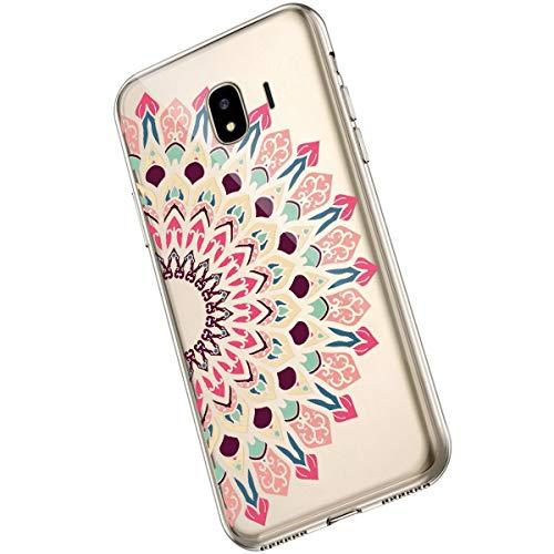 Saceebe Compatible avec Samsung Galaxy J4 2018 Coque Fleur Mandala Clair Design Motif Silicone Transparent TPU Souple Housse de Protection Ultra Mince Slim Léger Antichoc Étui,Fleur Mandala