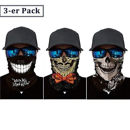 Nigaee Multifunktionstuch elastisches Halstuch nahtlos Kopftuch Schal Gesichtsschutz für Motorrad Fahrrad Bergsteigen UV Widerstand 3 Stücke (Typ_C)