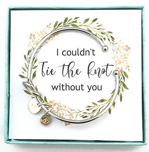 I couldn't tie the knot without you, Tie the Knot Bracelet, Knot Bracelet, Personalised Initial Bridesmaid Gifts, Bridesmaid Proposal Gift