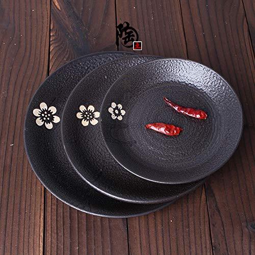 WHWH Keramik Teller, Knochen Teller Snack, Frühstück Obst Gericht-9 Zoll
