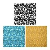 ABAKUHAUS Pack de 3 Bandanas Unisex, De dibujos animados nubes mullidas impresión amarillo Sun y Tech Drones 4 Hélices, Multicolor