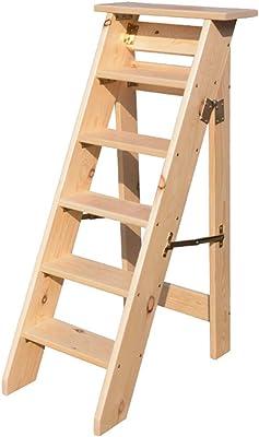 QQXX Escalera de Escalera Plegable portátil, Escalera de casa Escaleras de Madera para niños Adultos, Herramienta Ligera de jardín para el hogar Servicio Pesado Máx. 150kg en Natural6 Tier: Amazon.es: Hogar