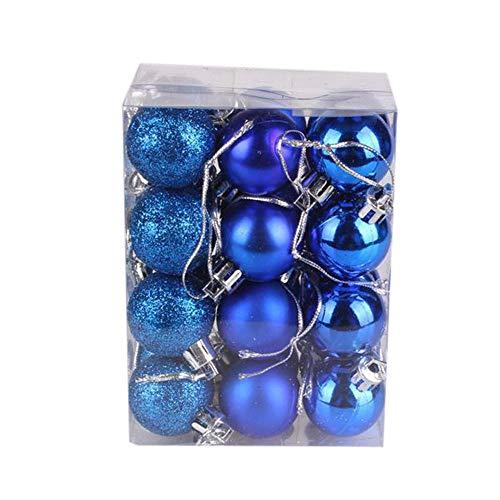 Christmas Balls Gadgets Brillantes Modernos De Plástico 24 Piezas Decoraciones De Cumpleaños para Fiestas Colgantes Adornos De Boda-Azul-3Cm