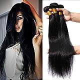 Elailite Extensiones Cabello Natural Cortina #1B Negro - Pelo Humano Brasileño sin Clip 100% Remy Brazilain Human Hair Bundles (65cm 70cm 75cm, 300g)