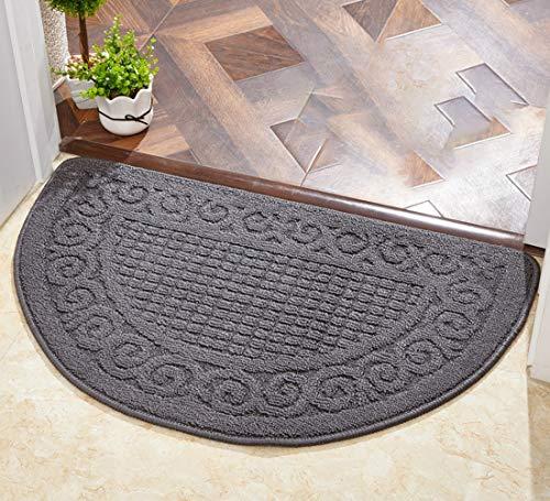 Aspthoyu - Zerbino resistente per porta d'ingresso, antiscivolo, antiscivolo, per interni ed esterni, lavabile in lavatrice, colore: grigio, 65 x 45 cm