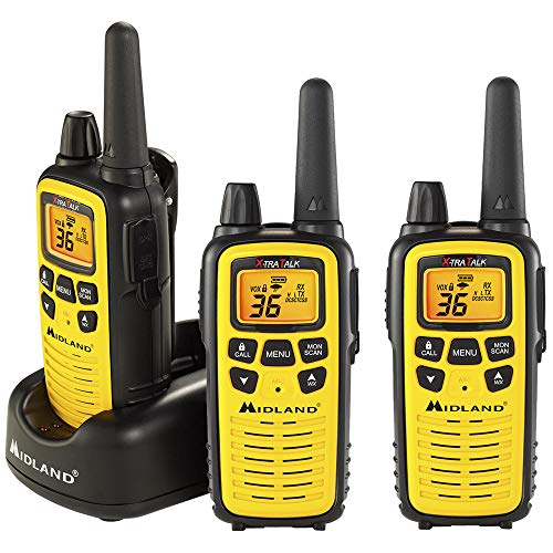Midland 36 Channel FRS Two-Way Radio - Long Range Walkie Talkie, 121 Privacy Codes, NOAA Weather Scan + Alert (Yellow/Black, 3-Pack)