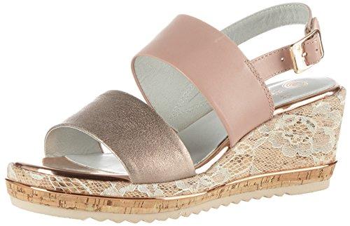 Be Natural Damen 28302 Offene Sandalen mit Keilabsatz, Pink (Rose Comb 502), 37 EU