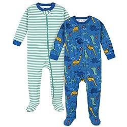 4. Gerber Baby Boys' 2-Pack Footed Dinosaur Pajamas