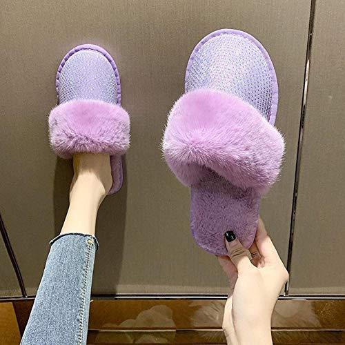 B/H Invierno Antideslizantes CáLido Zapatillas,Pantuflas de Felpa de algodón, hogar Interior Antideslizante, tamaño Grande para Parejas-Purple_39