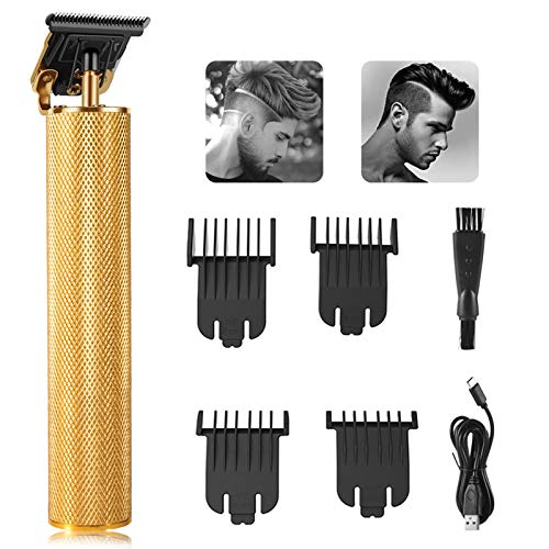 Price comparison product image MASALING Hair Clippers for Men Professional,  Electric T Blade Trimmer Cordless Rechargeable Hair Cutting Kit for Barber Shop with 4 Guide Combs (Gold)