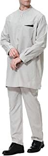 Men's Casual Long Sleeve O-Neck Muslim Arab Robe Ethnic Style White X-Large