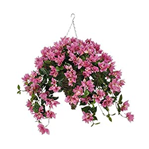 House of Silk Flowers Artificial Orchid Pink Bougainvillea in Cone Hanging Basket
