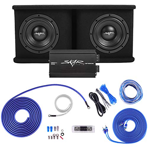 Skar Audio Dual 8' Complete 1,400 Watt SDR Series Subwoofer Bass Package - Includes Loaded Enclosure with Amplifier