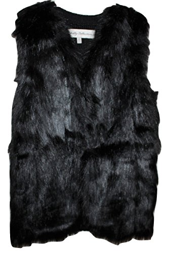 Sebby Collection Women's Faux Fur Vest With Sweater Back (Black, XL)