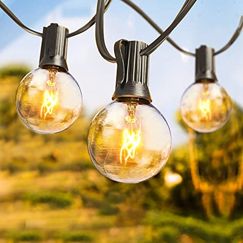 Outdoor String Light 50Feet G40 Globe Patio Lights with 53 Edison Glass Bulbs, 2200K Warm White IP44 Waterproof Connectable Hanging Light for Porch Balcony Deck Party Decor, E12 Socket Base, Black