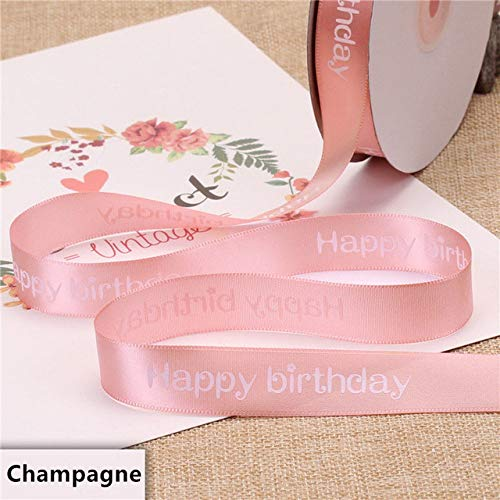 CUIAIDING Ribbon New Width 2cm polyester Ribbon, cake shop baking printed ribbons floral happy birthday packaging gift diy tie handmade material,Champagne,5meter