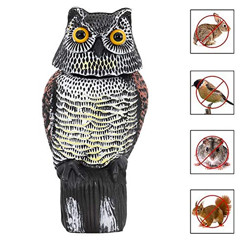 F Fellie Cover Owl Decoy Statue with 360 Degree Rotating Head, Realistic Owl Garden Decoration Bird/Pigeon/Seagull/Crow Scares Bird Deterrent for Outdoor Home Patio