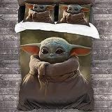 cuicui Mandalorian Baby Yoda - Juego de ropa de cama para todo el año (100% microfibra lavada y 2 fundas de almohada) (A01,220 x 240 cm + 50 x 75 cm x 2)