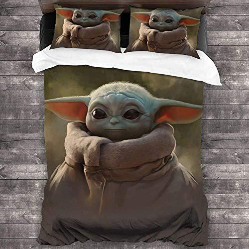 cuicui Mandalorian Baby Yoda - Juego de ropa de cama para todo el año (100% microfibra lavada y 2 fundas de almohada) (A01,140 x 210 cm + 80 x 80 cm x 2)