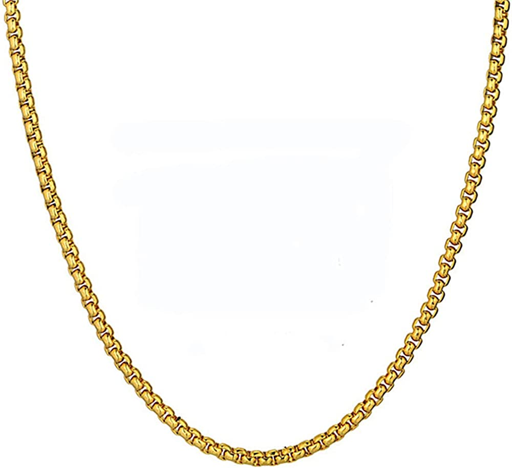 Stainless Steel Gold Chain For Men Women, Golden Stainless Steel Chain Necklace, Gold Color Vintage Collar Necklace Chokers 66Cm Chain