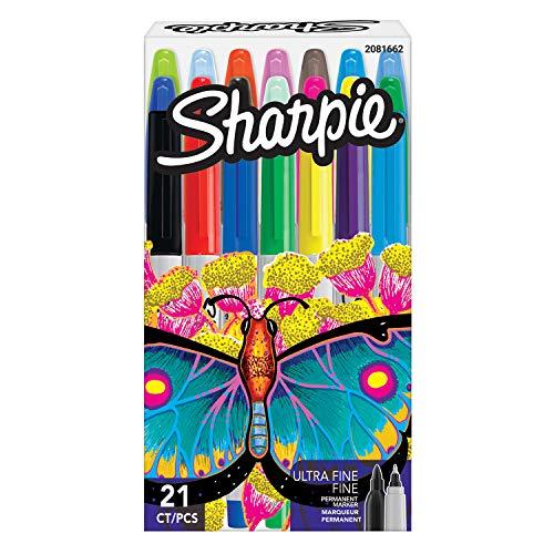 Sharpie rotuladores permanentes, punta fina y ultrafina, colores surtidos, juego de 21