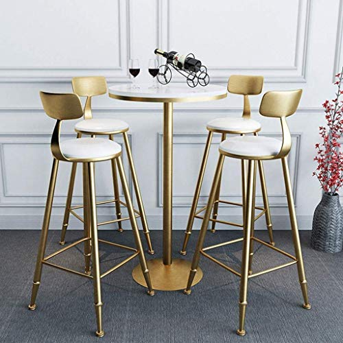 PIVFEDQX Dining Chair Bar Stool High Stool Bar Chair Cafe Seat Chair with Backrest Dining Chair Metal Frame PU Leather Easy to Clean (Size : Sitting Height 75cm/30in)