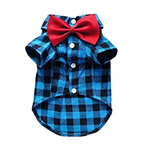 HOODDEAL Soft Casual Dog Blue and Black Plaid Shirt Gentle Dog Western Shirt Dog Clothes Dog Cotton Shirt + Dog Wedding Tie,Blue