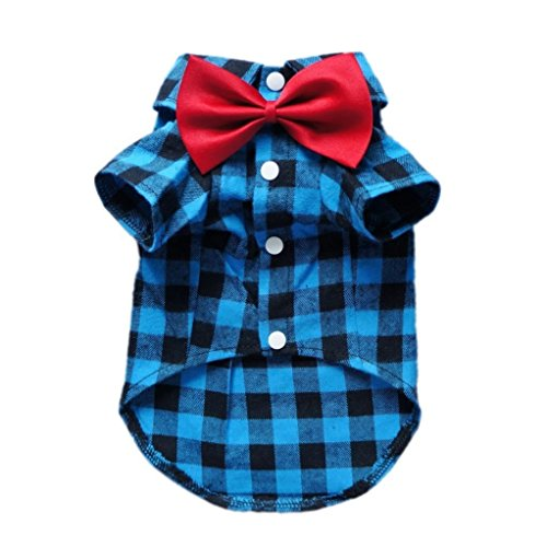 HOODDEAL Soft Casual Dog Plaid Shirt Blue and Black Gentle Dog Western Shirt Dog Clothes Dog Cotton...