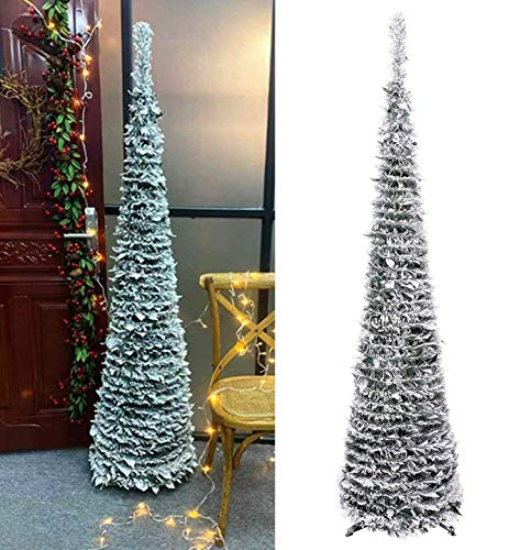 DOYOLLA Premium Artificial Snow Flocked Christmas Tree 6-Feet, Collapsible Pop-up Xmas Pine Tree for Home Holiday Christmas Decorations