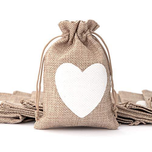 LONGBLE 50x Jutesäckchen mit Kordelzug, Kleine Säckchen - Herz Motiv - Stoffbeutel zum Befüllen Jutebeutel für Hochzeit Geburtstag Party Weihnachten Schmuckverpackung Mitbringsel DIY Handwerk 10x14cm