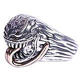 FORFOX Bague Venom Alien avec Langue d'or Rose en Argent Sterling 925 Punk pour Hommes Femmes Taille réglable 58-65
