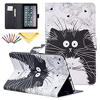 Uliking Cover for Amazon Kindle Fire HD 10 Tablet 10.1 inch 9th/7th/5th Generation Case 2019/2017/2015 with Pencil,PU Leather Folio Stand Magnetic TPU Wallet Card Slots Pocket Cover Black White Cat