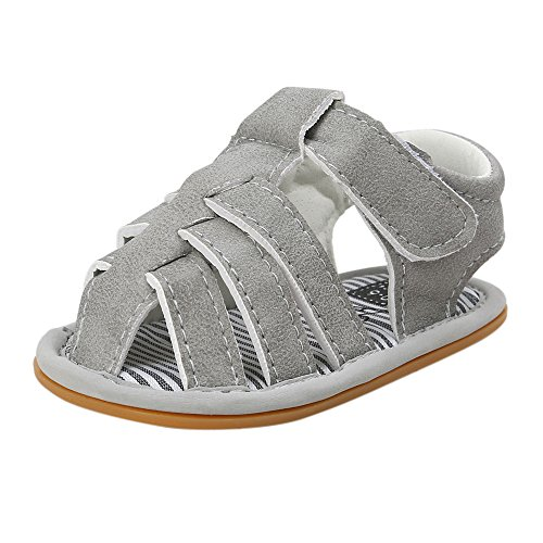 FRAUIT Leder Baby Sandalen Lauflernschuhe Krabbelschuhe Sommerschuhe Kinder Sandalen mit Wildledersohlen. Junge Mädchen Kleinkind Mesh Sneaker Ab 0-6 Monate bis 18-24 Monate
